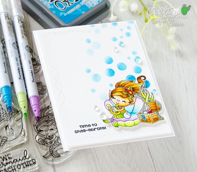 Time To Shell-ebrate #handmadecard by Tatiana Trafimovich #tatianacraftandart - Mermaid Trolls stamp set by Craftin Desert Divas #craftindesertdivas