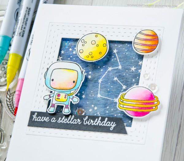 Have A Stellar Birthday #handmadecard by Tatiana Trafimovich #tatianacraftandart - Moon Men stamp set by Reverse Confetti #reverseconfetti