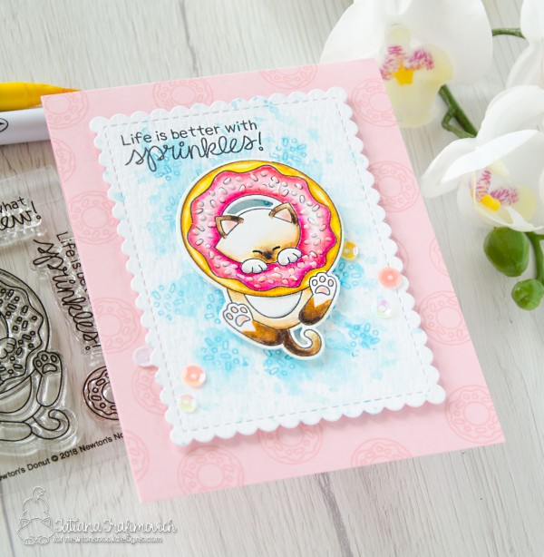 Life Is Better With Sprinkles #handmade card by Tatiana Trafimovich #tatianacraftandart - Newton's Donut stamp set by Newton's Nook Designs #newtonsnook