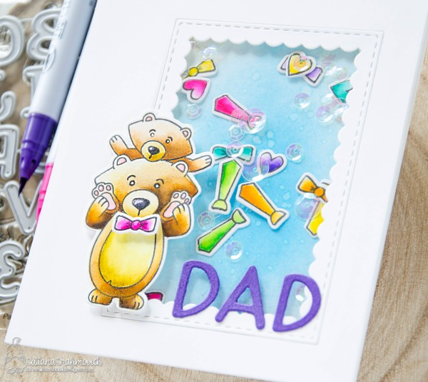 DAD #handmade card by Tatiana Trafimovich #tatianacraftandart - Papa Bear stamp set by Newton's Nook Designs #newtonsnook
