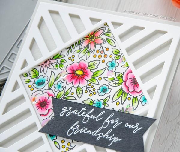 Grateful For My Friendship #handmadecard by Tatiana Trafimovich #tatianacraftandart - Pattern Blocks stamp set by Reverse Confetti #reverseconfetti