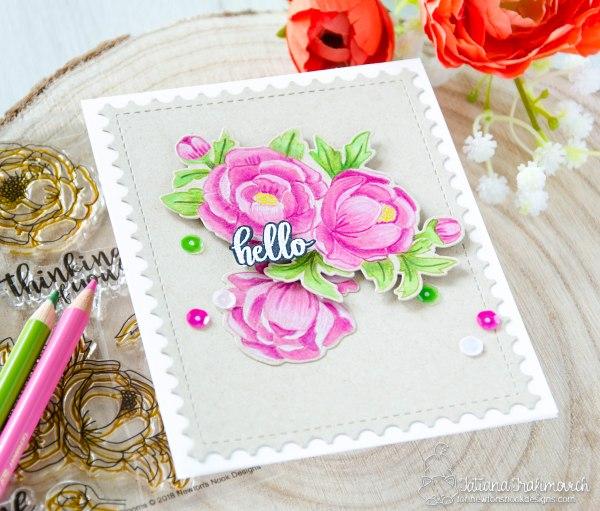 Hello #handmade card by Tatiana Trafimovich #tatianacraftandart - Peony Blooms stamp set by Newton's Nook Designs #newtonsnook