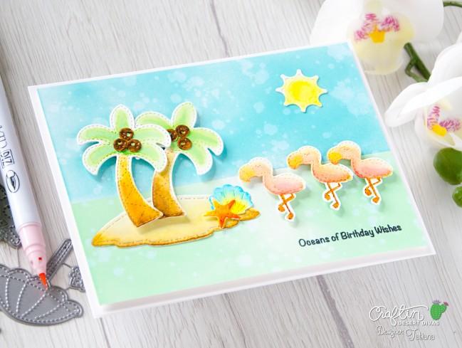 Ocean of Birthday Wishes #handmadecard by Tatiana Trafimovich #tatianacraftandart - Beach Scene Die Set set by Craftin Desert Divas #craftindesertdivas