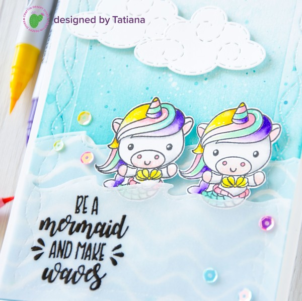 Be Mermaid And Make Waves #handmadecard by Tatiana Trafimovich #tatianacraftandart - 100% Magical stamp set by Craftin Desert Divas #craftindesertdivas