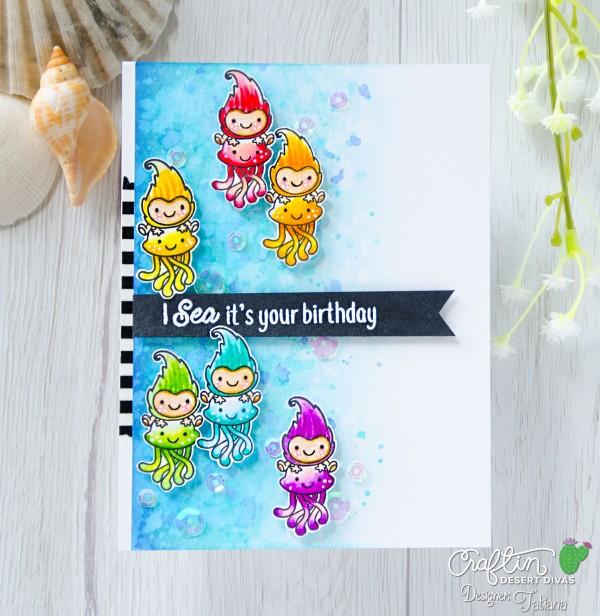 I Sea It's Your Birthday #handmadecard by Tatiana Trafimovich #tatianacraftandart - Fantastic Friends stamp set by Craftin Desert Divas #craftindesertdivas