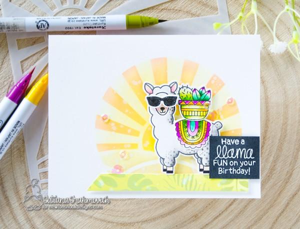Have A Llama Fun On Your Birthday #handmade card by Tatiana Trafimovich #tatianacraftandart - Lovable Llamas stamp set by Newton's Nook Designs #newtonsnook