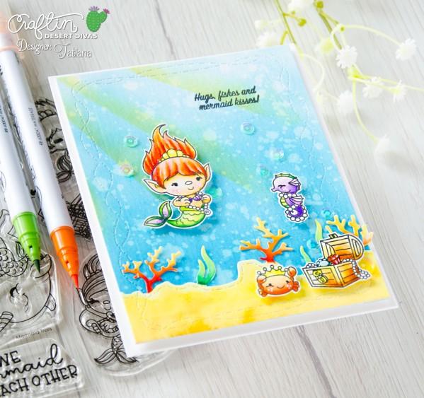 Hugs, Fishes And Mermaid Kisses #handmadecard by Tatiana Trafimovich #tatianacraftandart - Mermaid Trolls stamp set by Craftin Desert Divas #craftindesertdivas