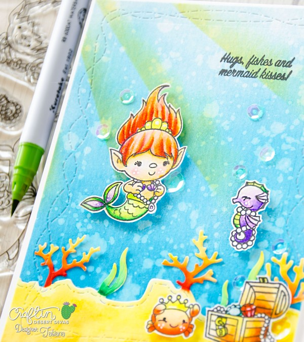 Hugs, Fishes And Mermaid Kisses #handmadecard by Tatiana Trafimovich #tatianacraftandart - Mermaid Trolls stamp set by Craftin Desert Divas #craftindesertdivas