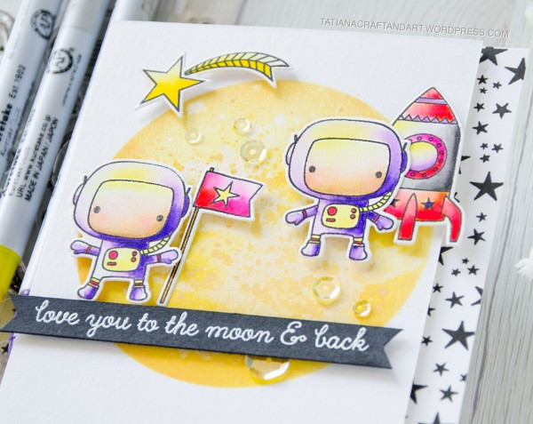 Love You To The Moon & Back #handmadecard by Tatiana Trafimovich #tatianacraftandart - Moon Men stamp set by Reverse Confetti #reverseconfetti