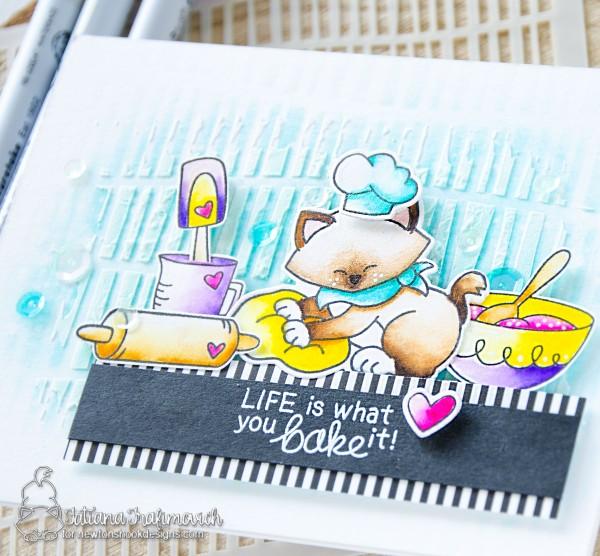 Life Is What You Bake It #handmade card by Tatiana Trafimovich #tatianacraftandart - Newton's Kitchen stamp set by Newton's Nook Designs #newtonsnook