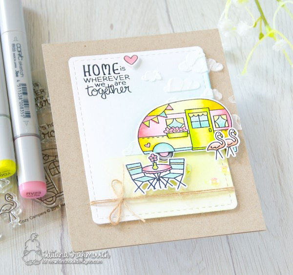 Home Is... #handmade card by Tatiana Trafimovich #tatianacraftandart - Cozy Campers stamp set by Newton's Nook Designs #newtonsnook