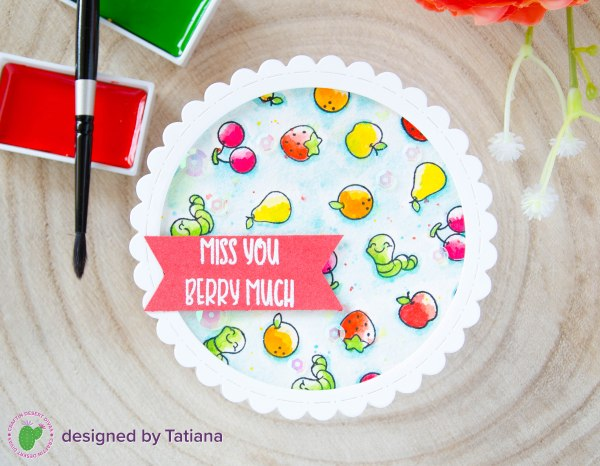 Miss You Berry Much #handmadecard by Tatiana Trafimovich #tatianacraftandart - Fruity Friends stamp set by Craftin Desert Divas #craftindesertdivas