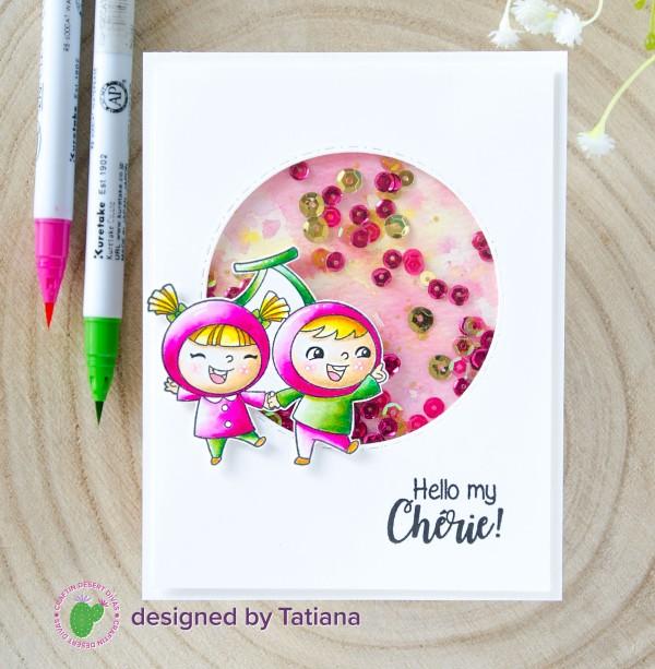 Hello My Cherie #handmadecard by Tatiana Trafimovich #tatianacraftandart - Fruity Friends stamp set by Craftin Desert Divas #craftindesertdivas