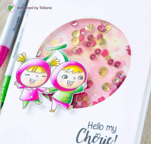 Hello My Cherie #handmadecard by Tatiana Trafimovich #tatianacraftandart - Fruity Friends stamp set by Craftin Desert Divas #craftindesertdivas