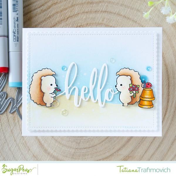 Hello #handmade card by Tatiana Trafimovich #tatianacraftandart - HedgeHugs stamp set by SugarPea Designs #sugarpeadesigns