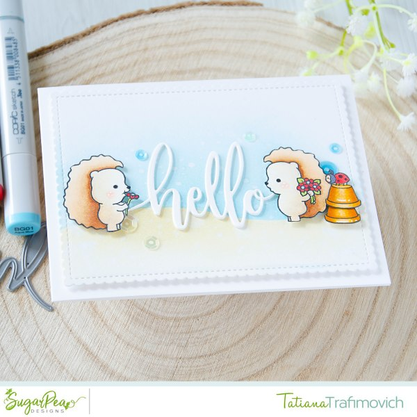 Hello #handmade card by Tatiana Trafimovich #tatianacraftandart - HedgeHugs stamp set by SugarPea Designs #sugarpeadesigns