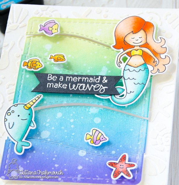 Be A Mermaid #handmade card by Tatiana Trafimovich #tatianacraftandart - Narly Mermaids stamp set by Newton's Nook Designs #newtonsnook