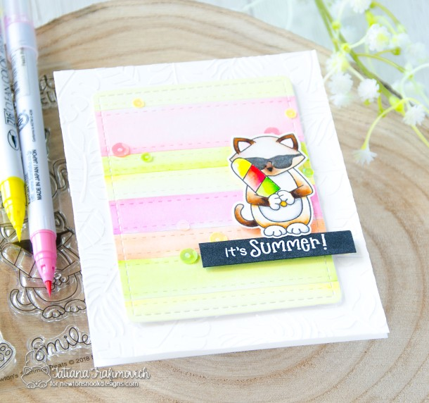 It's Summer #handmade card by Tatiana Trafimovich #tatianacraftandart - Newton's Summer Treats stamp set by Newton's Nook Designs #newtonsnook
