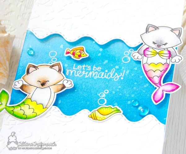 Let's Be Mermaids #handmade card by Tatiana Trafimovich #tatianacraftandart - Purr-maid Newton stamp set by Newton's Nook Designs #newtonsnook