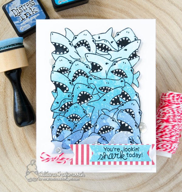 You're Looking Shark Today #handmade card by Tatiana Trafimovich #tatianacraftandart - Shark Frenzy stamp set by Newton's Nook Designs #newtonsnook