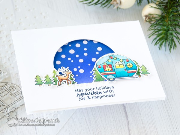 May Your Holidays Sparkles #handmade card by Tatiana Trafimovich #tatianacraftandart - Cozy Campers stamp set by Newton's Nook Designs #newtonsnook