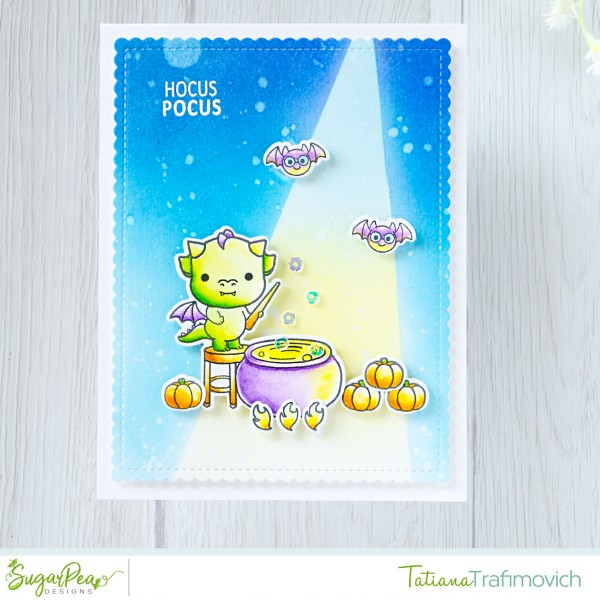 Hocus Pocus #handmade card by Tatiana Trafimovich #tatianacraftandart - Darling Dragons stamp set by SugarPea Designs #sugarpeadesigns