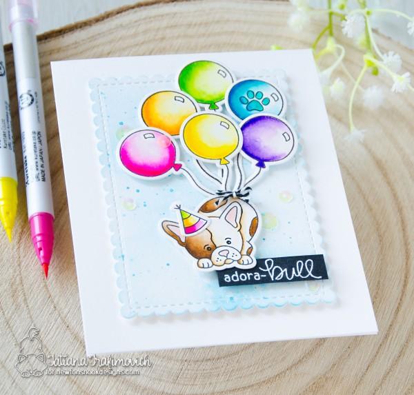 Adora-BULL #handmade card by Tatiana Trafimovich #tatianacraftandart - Fabulous Frenchies stamp set by Newton's Nook Designs #newtonsnook