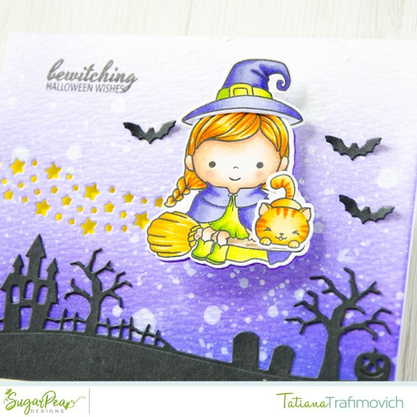 Bewitching Halloween Wishes #handmade card by Tatiana Trafimovich #tatianacraftandart - Bewitched stamp set by SugarPea Designs #sugarpeadesigns