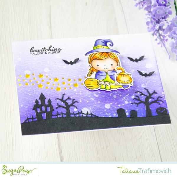 Bewitching Halloween Wishes #handmade card by Tatiana Trafimovich #tatianacraftandart - Bewitched stamp set by SugarPea Designs #sugarpeadesigns