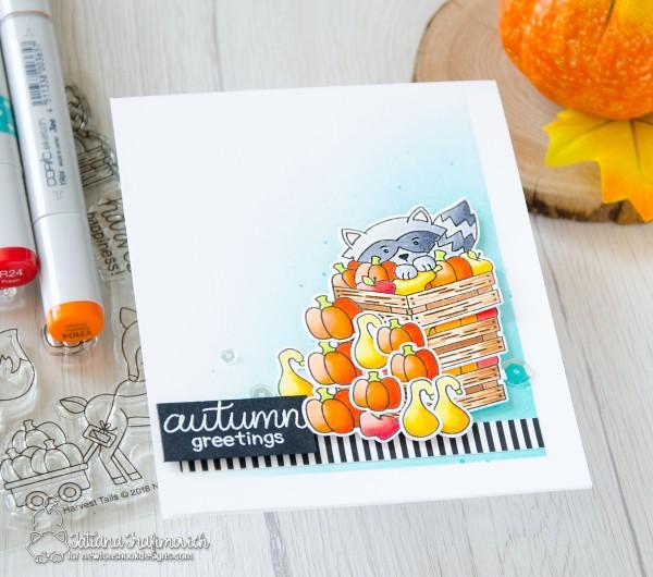 Autumn Greetings #handmade card by Tatiana Trafimovich #tatianacraftandart - Harvest Tails stamp set by Newton's Nook Designs #newtonsnook