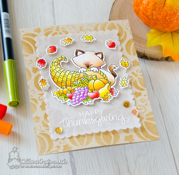 Happy Thanksgiving #handmade card by Tatiana Trafimovich #tatianacraftandart - Newton's Cornucopia stamp set by Newton's Nook Designs #newtonsnook