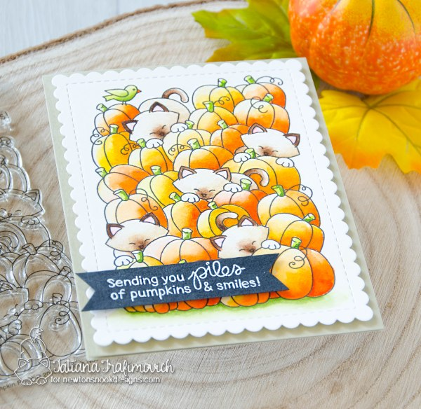 Sending You Piles of Pumpkin & Smiles #handmade card by Tatiana Trafimovich #tatianacraftandart - Newton's Pumpkin Patch stamp set by Newton's Nook Designs #newtonsnook