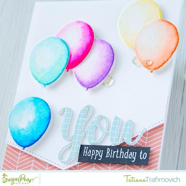 Happy Birthday #handmade card by Tatiana Trafimovich #tatianacraftandart - Party Balloon stamp set by SugarPea Designs #sugarpeadesigns