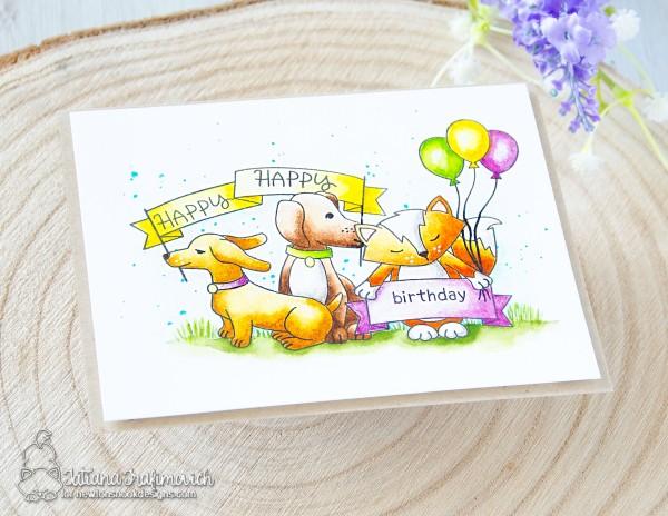 Happy Birthday #handmade card by Tatiana Trafimovich #tatianacraftandart - Hello Beautiful stamp set by Newton's Nook Designs #newtonsnook for #STAMPtember