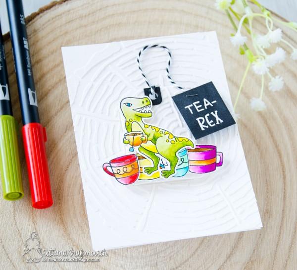 Tea-Rex #handmade card by Tatiana Trafimovich #tatianacraftandart - Tea-Rex stamp set by Newton's Nook Designs #newtonsnook