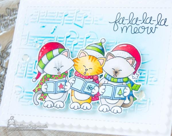 Fa-la-la-la Meow #handmade card by Tatiana Trafimovich #tatianacraftandart - Caroling Newton stamp set by Newton's Nook Designs #newtonsnook