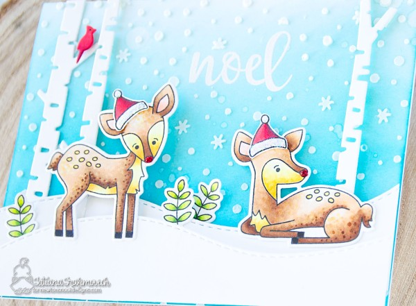 Noel #handmade card by Tatiana Trafimovich #tatianacraftandart - Deer Friend stamp set by Newton's Nook Designs #newtonsnook