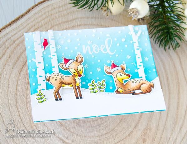 Noel #handmade card by Tatiana Trafimovich #tatianacraftandart - Deer Friend stamp set by Newton's Nook Designs #newtonsnook