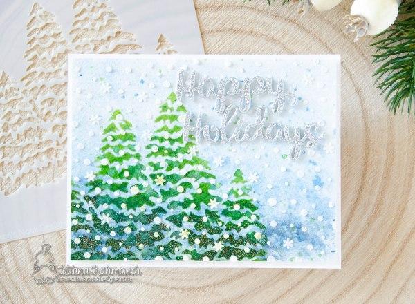 Happy Holidays #handmade card by Tatiana Trafimovich #tatianacraftandart - Holiday Greetings die set by Newton's Nook Designs #newtonsnook