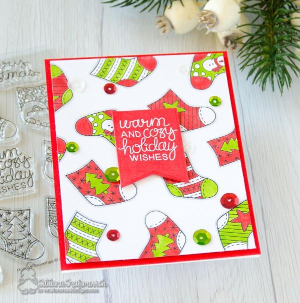 Warm And Cozy Holiday Wishes #handmade card by Tatiana Trafimovich #tatianacraftandart - Holiday Stockings stamp set by Newton's Nook Designs #newtonsnook