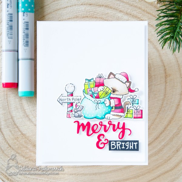 Merry & Bright #handmade card by Tatiana Trafimovich #tatianacraftandart - Santa Paws Newton stamp set by Newton's Nook Designs #newtonsnook