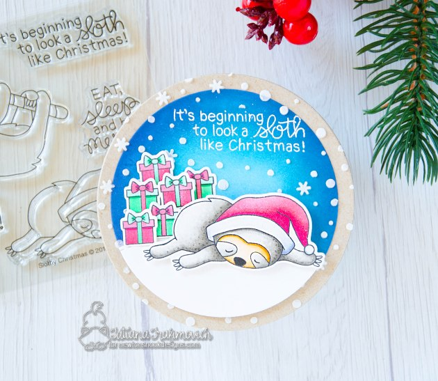 It's Beginning To Look A SLOTH Like Christmas #handmade card by Tatiana Trafimovich #tatianacraftandart - Slothy Christmas stamp set by Newton's Nook Designs #newtonsnook