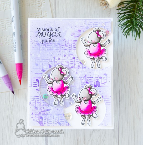 Visions Of Sugar Plums #handmade card by Tatiana Trafimovich #tatianacraftandart - The Nutcracker Squeak stamp set by Newton's Nook Designs #newtonsnook