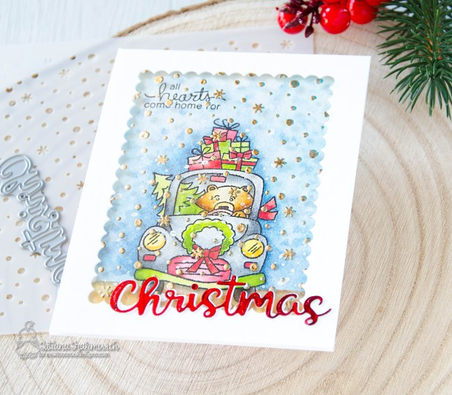 All Hearts Come Home For Christmas #handmade card by Tatiana Trafimovich #tatianacraftandart - Winston's Home For Christmas stamp set by Newton's Nook Designs #newtonsnook
