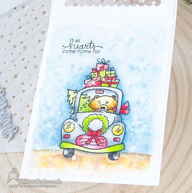 All Hearts Come Home For Christmas #handmade card by Tatiana Trafimovich #tatianacraftandart - Winston's Home For Christmas stamp set by Newton's Nook Designs #newtonsnook