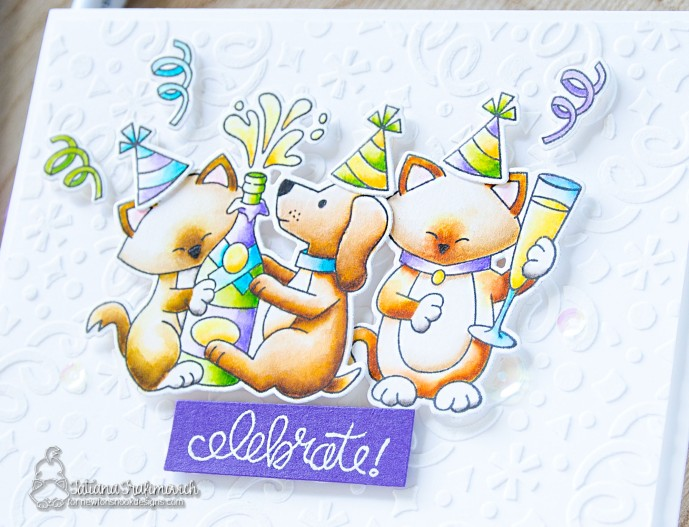 Celebrate #handmade card by Tatiana Trafimovich #tatianacraftandart - Newton Celebrates stamp set by Newton's Nook Designs #newtonsnook