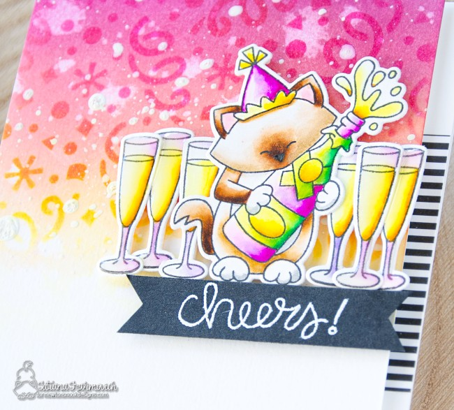 Cheers! #handmade card by Tatiana Trafimovich #tatianacraftandart - Newton's New Year stamp set by Newton's Nook Designs #newtonsnook