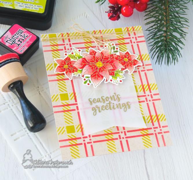 Season's Greetings #handmade card by Tatiana Trafimovich #tatianacraftandart - Poinsettia Blooms stamp set by Newton's Nook Designs #newtonsnook