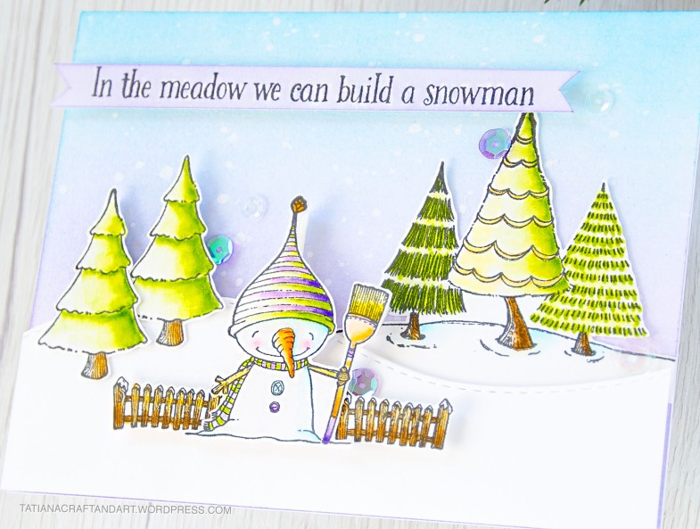 In The Meadow We Can Build A Snowman #handmade card by Tatiana Trafimovich #tatianacraftandart - stamps by Purple Onion Designs