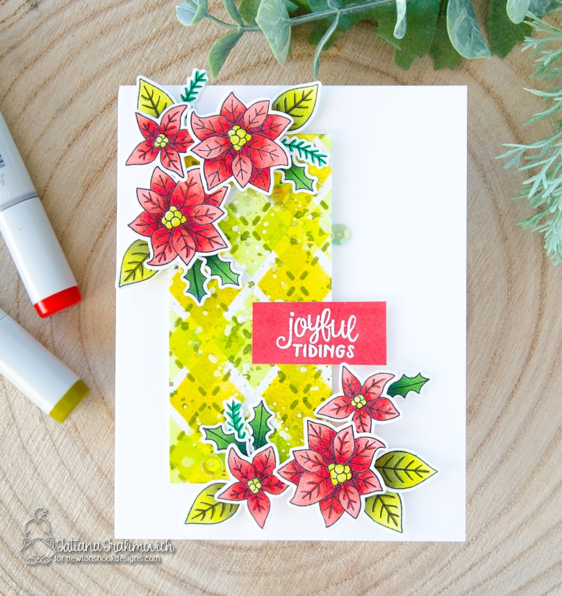 Joyful Tidings #handmade card by Tatiana Trafimovich #tatianacraftandart - Poinsettia Blooms stamp set by Newton's Nook Designs #newtonsnook